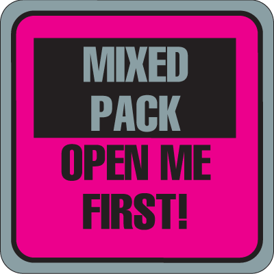 Mixed Pack Open First Fluorescent Attention Getting Labels