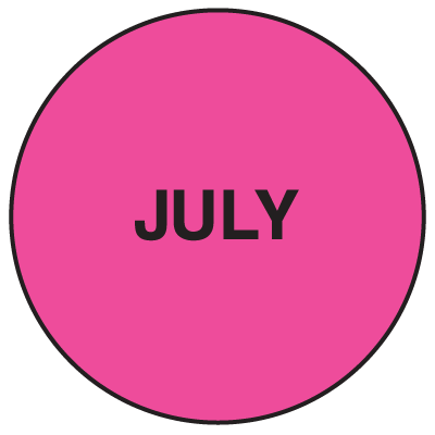 Fluorescent July Dot  Labels
