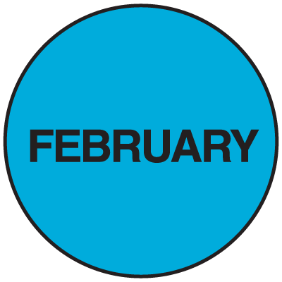 Fluorescent February Dot Labels