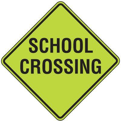 Fluorescent Pedestrian Signs - School Crossing