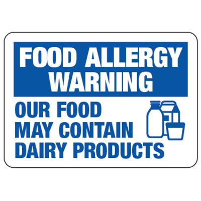 Food Allergy Warning May Contain Dairy - Food Allergy Signs