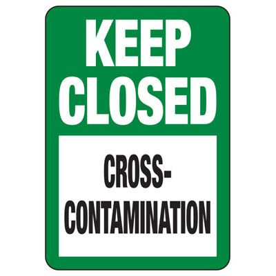 Keep Closed Cross-Contamination - Industrial Food Safety Sign