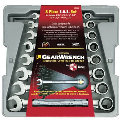 GearWrench® - 8 Pc. Combination Ratcheting Wrench Sets 9308