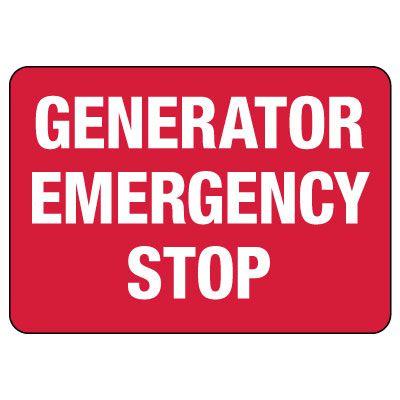 Generator Emergency Stop Sign