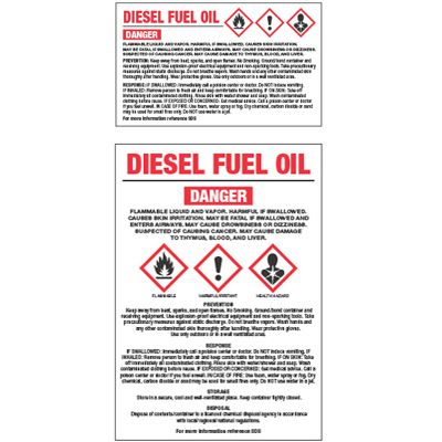 GHS Chemical Labels - Diesel Fuel Oil