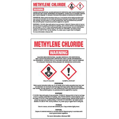 GHS Chemical Labels - Methylene Chloride