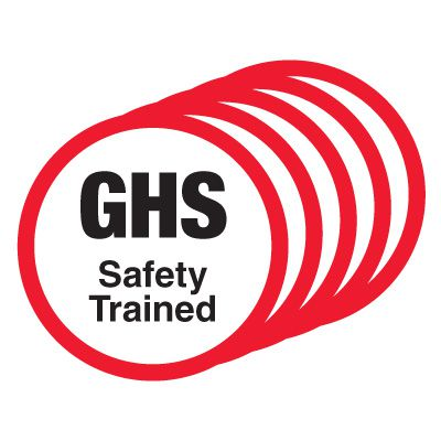 GHS Safety Trained Hard Hat Labels