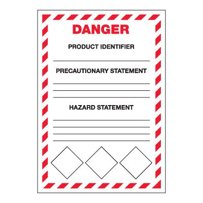 GHS Secondary Container Labels - Danger