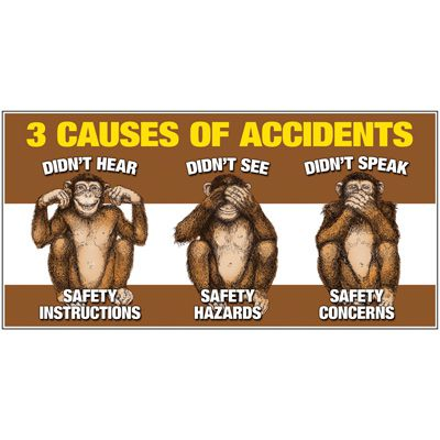 Giant Motivational Wall Graphics - 3 Causes of Accidents