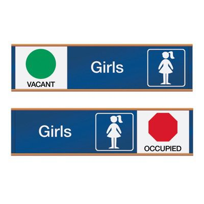 Girls Vacant/Occupied - Engraved Restroom Sliders