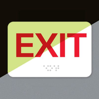 Exit Luminous Braille Sign