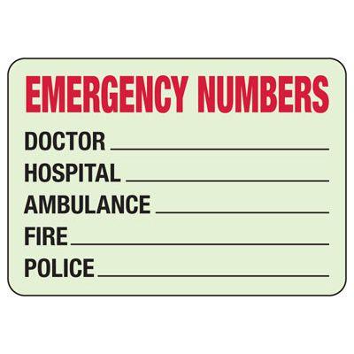 Emergency Numbers - Glow-In-The-Dark Emergency Signs
