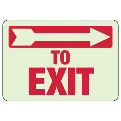To Exit Arrow Right - Setonglo Luminous Exit And Path Marker Signs