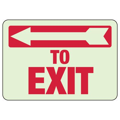 To Exit Arrow Left - Setonglo Luminous Exit And Path Marker Signs
