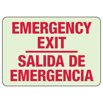 Luminous Exit and Path Marker Signs - Emergency Exit/Salida De Emergencia