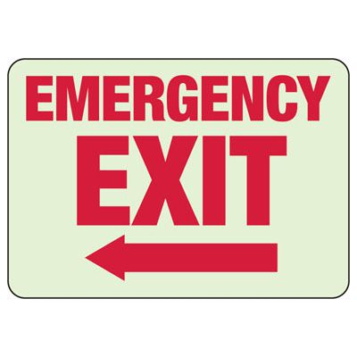 Emergency Exit Arrow Left - Luminous Exit And Path Marker Signs