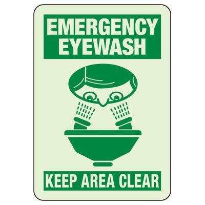Emergency Eye Wash Keep Area Clear - Glow-In-The-Dark Safety Signs