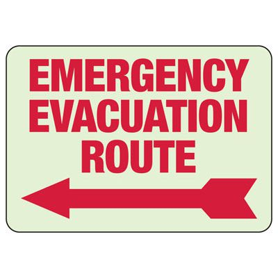 Emergency Evacuation Route Arrow Left - Glow-In-The-Dark Exit Signs