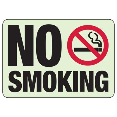 No Smoking With Graphic - Glow-In-The-Dark No Smoking Signs
