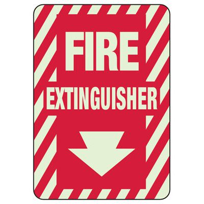 Fire Extinguisher Arrow Down - Glow-In-The-Dark Fire Extinguisher Signs