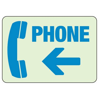 Phone Arrow Left - Glow-In-The-Dark Phone Signs
