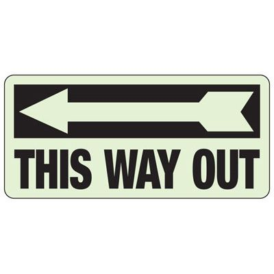 This Way Out Arrow Left - Glow-In-The-Dark Exit Signs