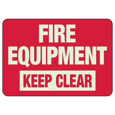 Fire Equipment Keep Clear - Glow-In-The-Dark Fire Equipment Signs