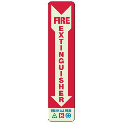 Use On All Fires A B C - Glow-In-The-Dark Fire Extinguisher Signs