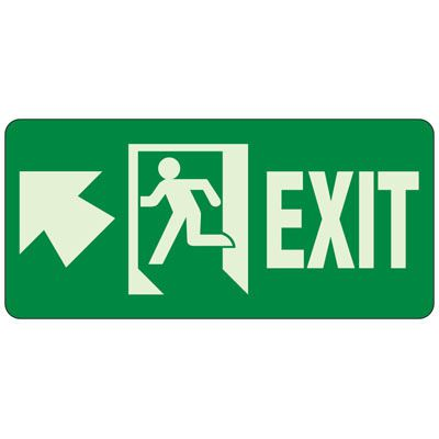 Exit (Up Arrow Left) - Exit and Fire Glow Signs