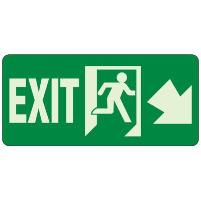 Exit (Down Arrow Right) - Exit and Fire Glow Signs