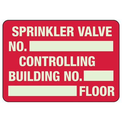 Sprinkler Valve - Glow-In-The-Dark Sprinkler Control Valve Signs