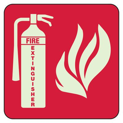 Fire Extinguisher (Fire Symbol) - Exit and Fire Glow Signs
