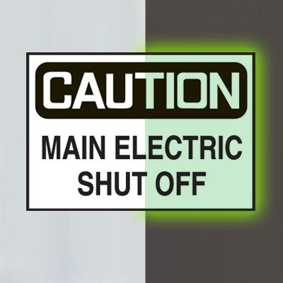 Glow-In-The-Dark Electrical Safety Signs- Caution Main Electric Shut Off