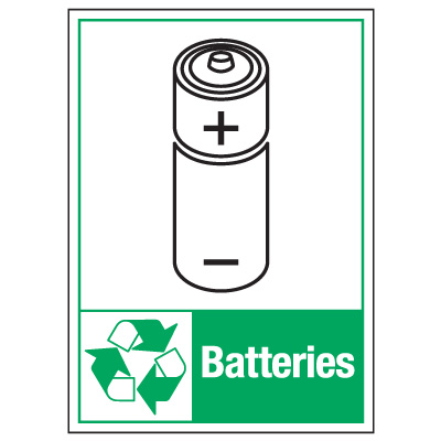 Graphic Recycling Labels - Batteries