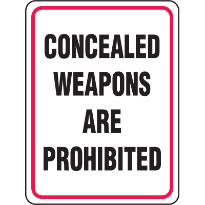 Gun Prohibition Signs - Prohibited