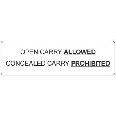 Kansas Concealed Carry Signs - Open Carry Allowed