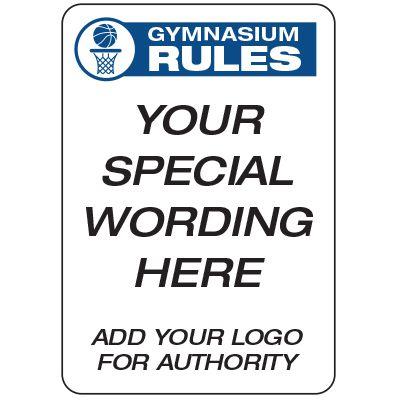 Gymnasium Rules  - Custom School Safety Signs