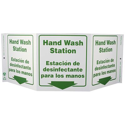 Hand Wash Station Tri View Sign