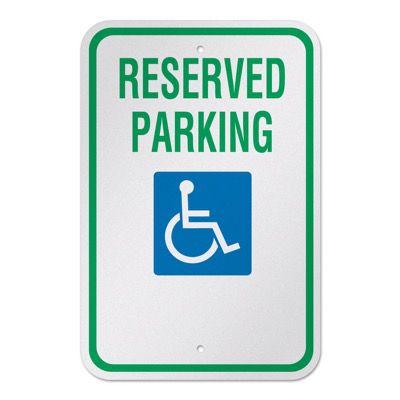 Engineer Grade Reflective Aluminum Handicap Parking Signs - Reserved Parking - 18 x 12
