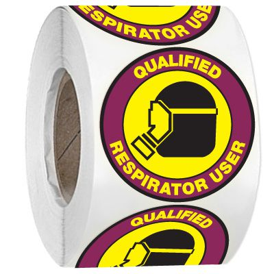Hard Hat Safety Labels On A Roll - Qualified Respirator User