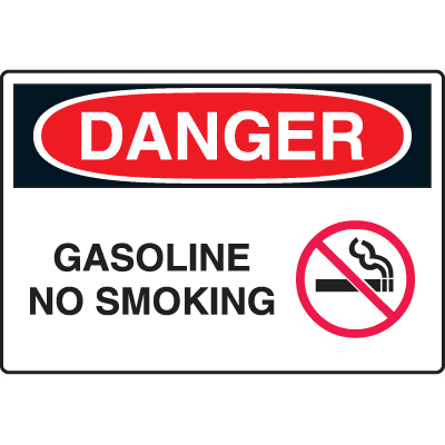 Harsh Condition OSHA Signs - Danger - Gasoline No Smoking