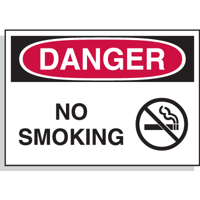 Hazard Warning Labels - Danger No Smoking (With Graphic)
