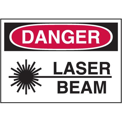 Hazard Warning Labels - Danger Laser Beam (With Graphic)