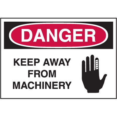 Hazard Warning Labels - Danger Keep Away From Machinery (With Graphic)