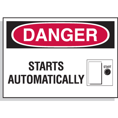 Hazard Warning Labels - Danger Starts Automatically (with Graphic)