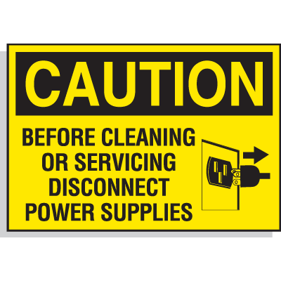 Hazard Warning Labels - Caution Before Cleaning Or Servicing Disconnect Power Supplies (With Graphic)
