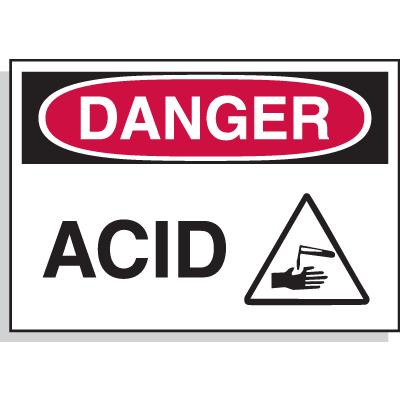 Hazard Warning Labels - Danger Acid (with Graphic)