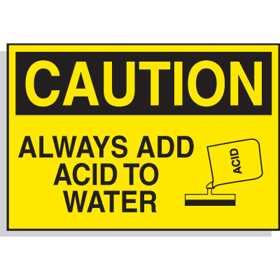 Hazard Warning Labels - Caution Always Add Acid To Water