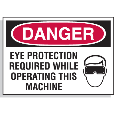 Hazard Warning Labels - Danger Eye Protection Required