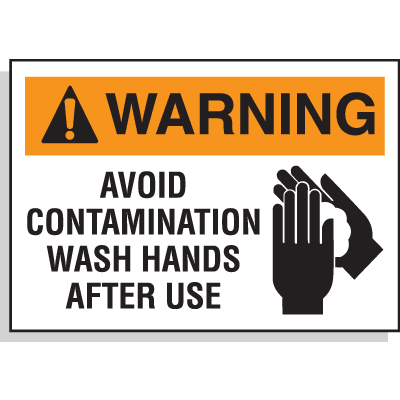 Chemical Hazard Labels - Avoid Contamination Wash Hands After Use